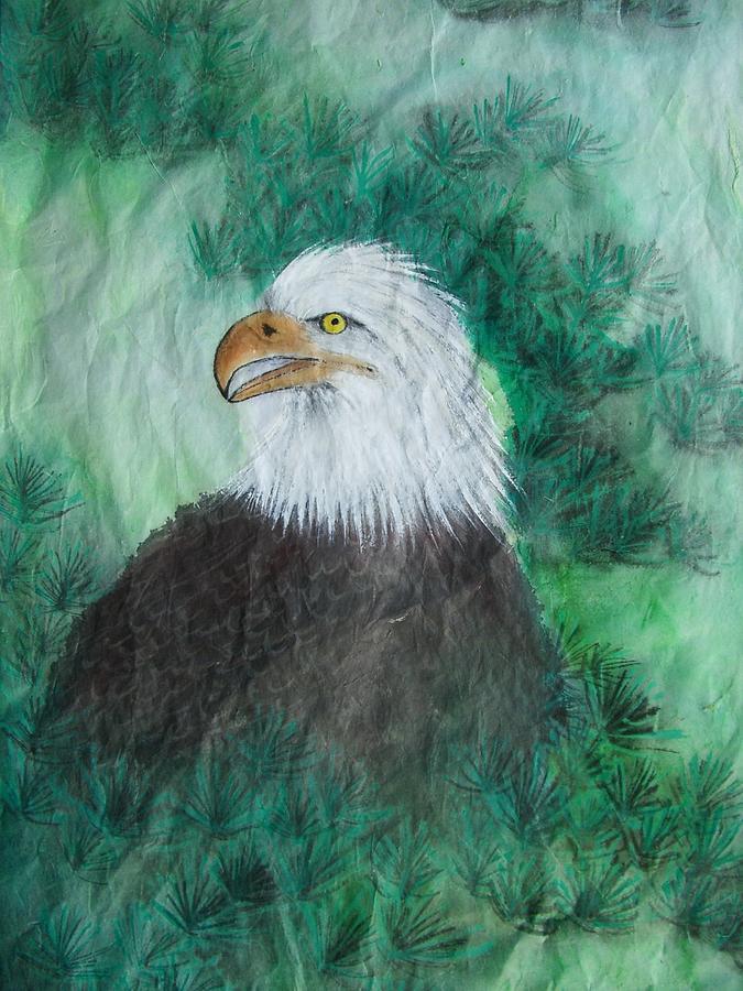 Nature Painting - Bald Eagle by Jian Hua Li