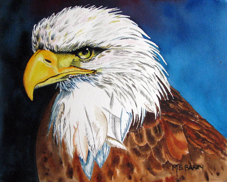 Birds Painting - Bald Eagle by Maria Barry