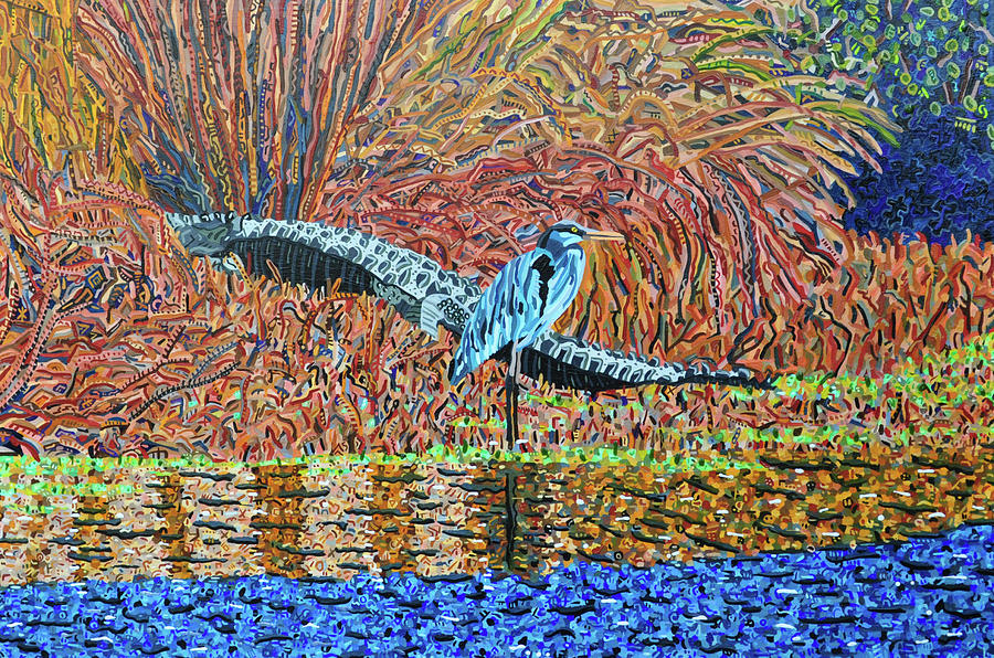 Bald Head Island Painting - Bald Head Island, Gator, Blue Heron by Micah Mullen