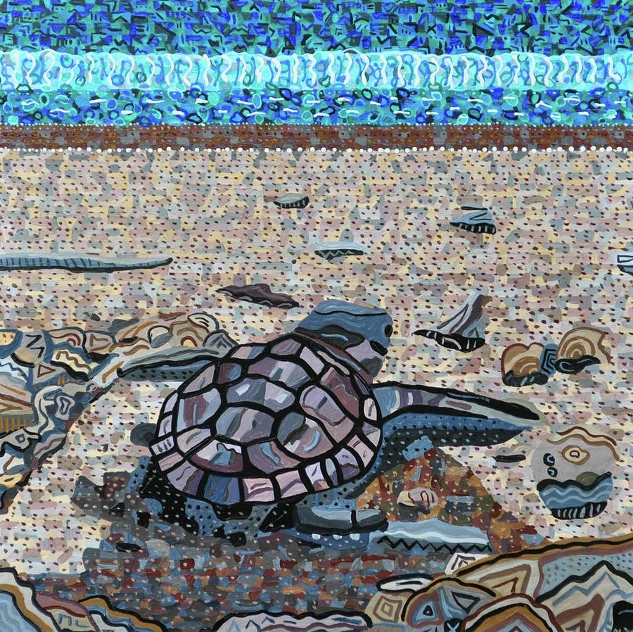 Bald Head Island Painting - Bald Head Island, Loggerhead Sea Turtle by Micah Mullen