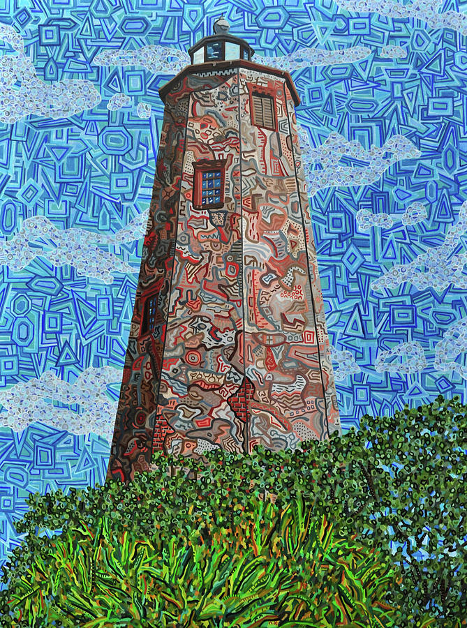 Bald Head Island Painting - Bald Head Island, Old Baldy Lighthouse by Micah Mullen