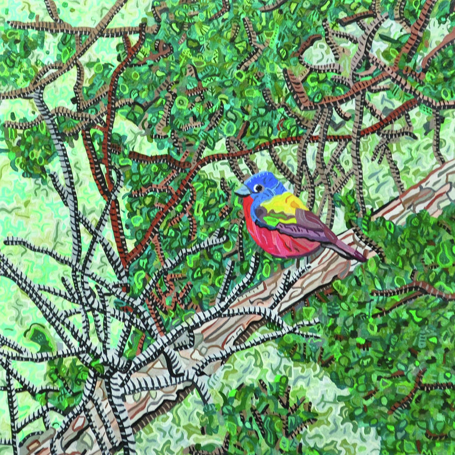 Bald Head Island Painting - Bald Head Island, Painted Bunting At Defying Gravity by Micah Mullen