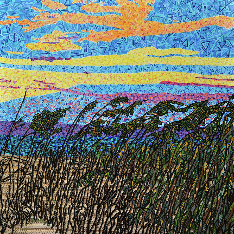 Bald Head Island Painting - Bald Head Island, Sea Oat Sunset by Micah Mullen