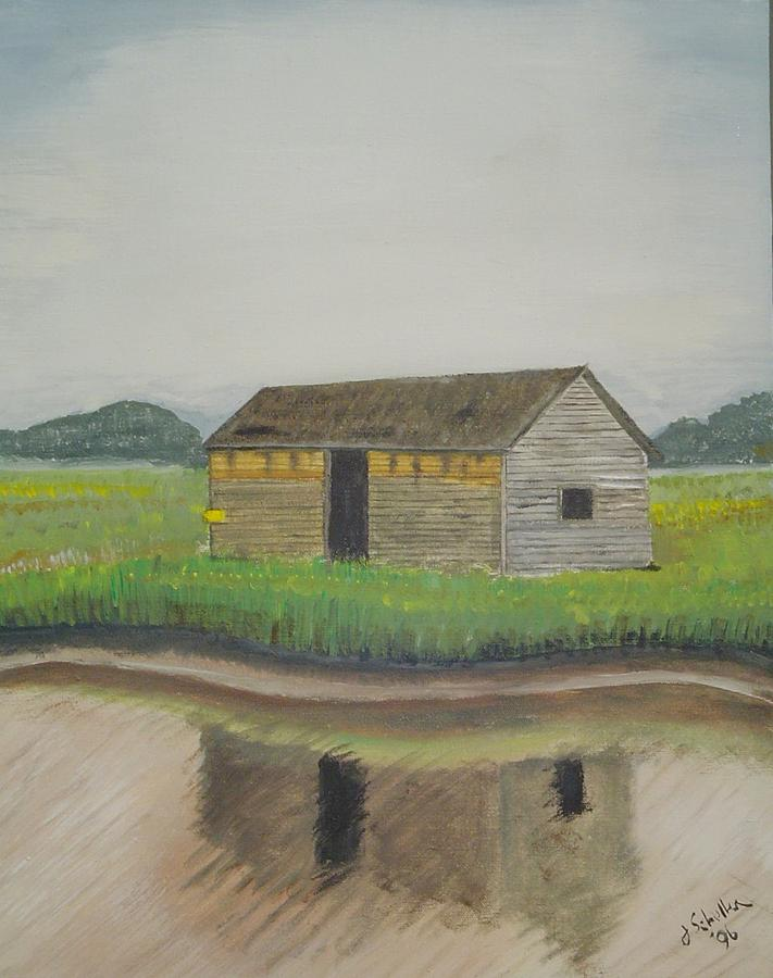 Marsh Painting - Bald Head Island Shed by John Schuller