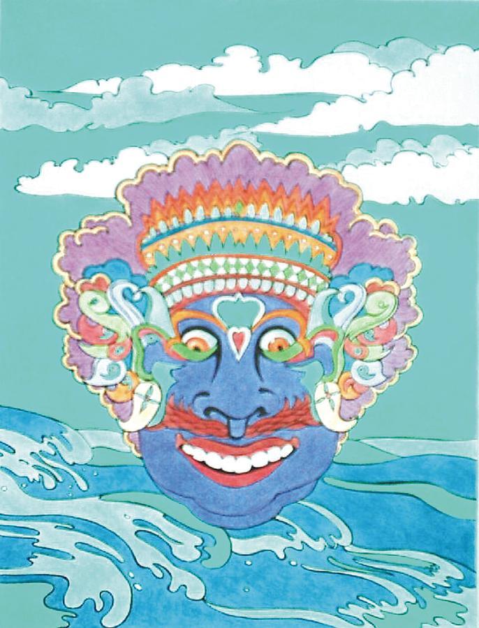 Opera Painting - Bali Dance Mask by Steven Donnini