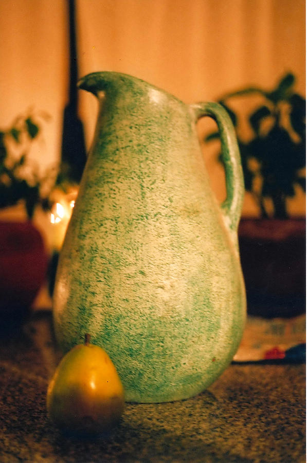 Still Life Photograph - Bali Pitcher And Pear by Heather S Huston