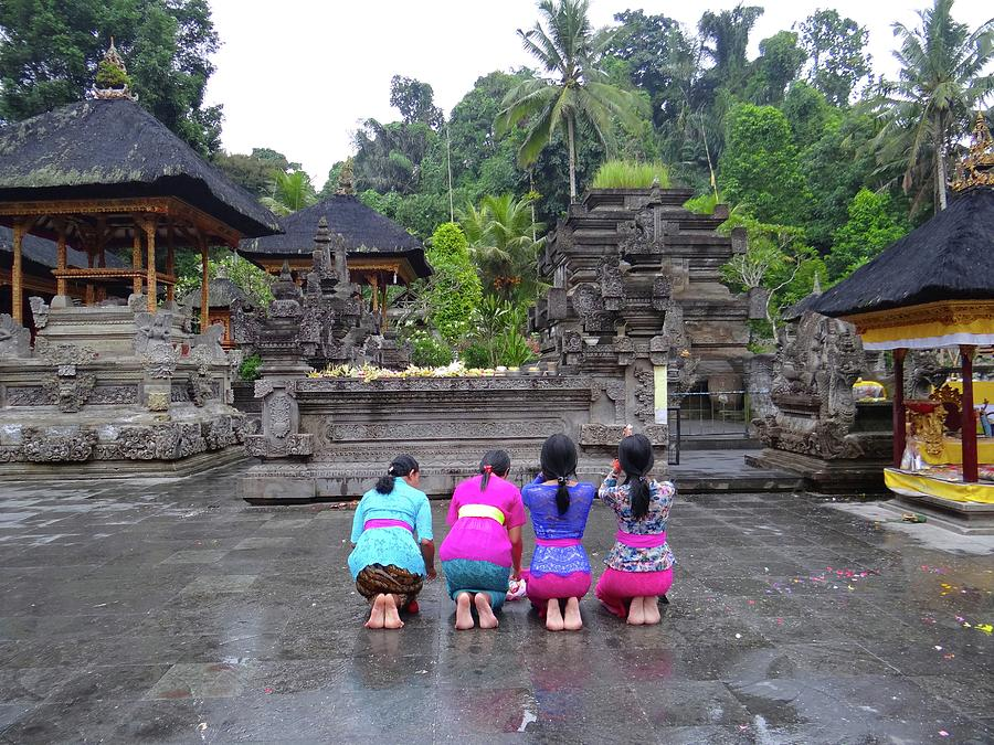 Unschooling Photograph - Bali Temple Women Bowing by Exploramum Exploramum