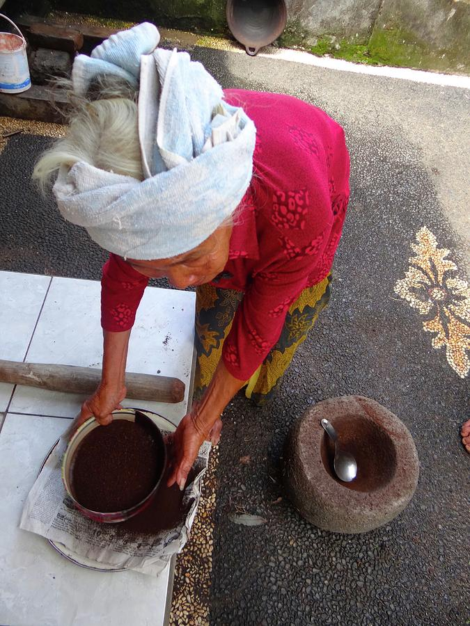 Unschooling Photograph - Balinese lady sifting coffee by Exploramum Exploramum