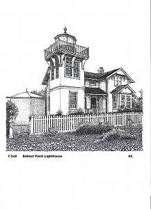 Cal Drawing - Ballast Point Lighthouse by John  R Harris