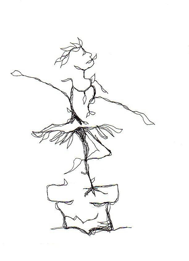 Ballerina Drawing - Ballerina- Cracked Pot by Doug Johnson