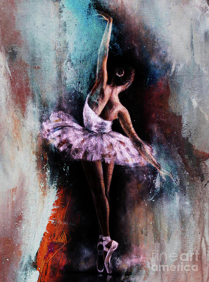 Ballerina Painting - Ballerina Dance Art 10087 by Gull G