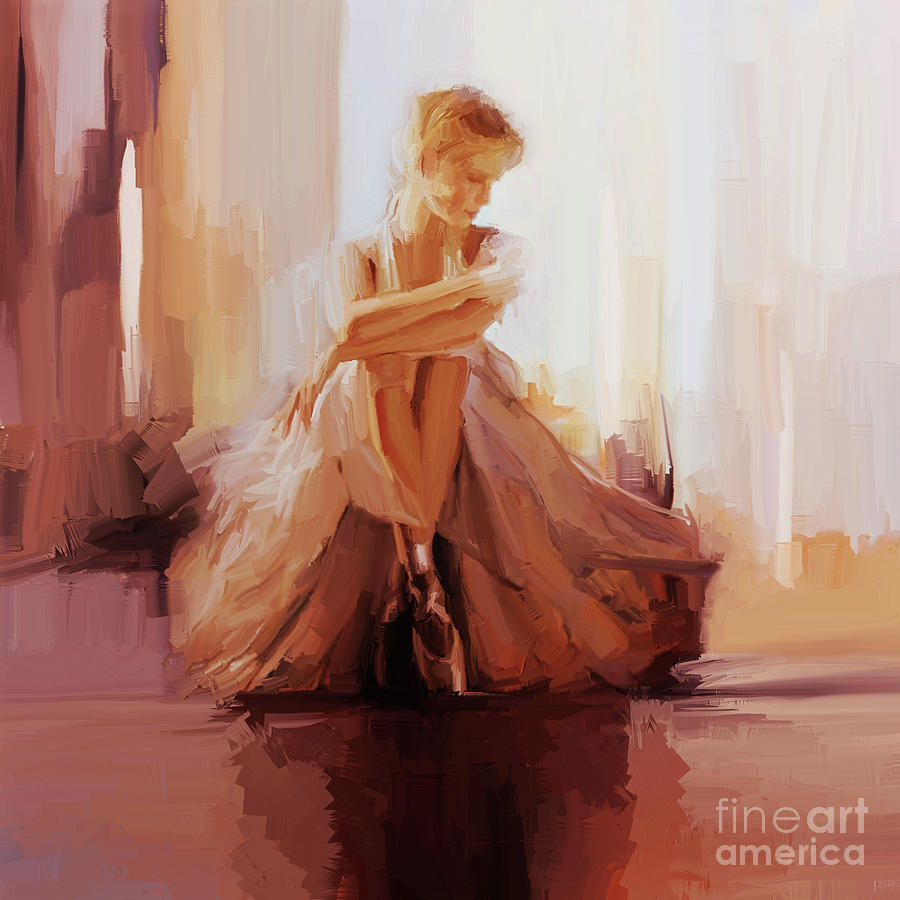 Ballerina Painting - Ballerina Dancer Sitting On The Floor 01 by Gull G