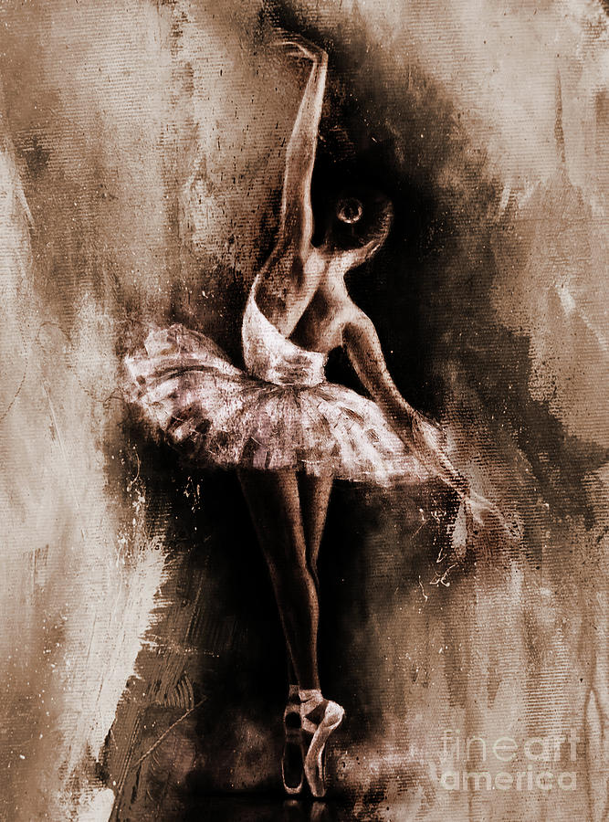 Ballerina Painting - Ballerina Dancing Girl Art 43 by Gull G