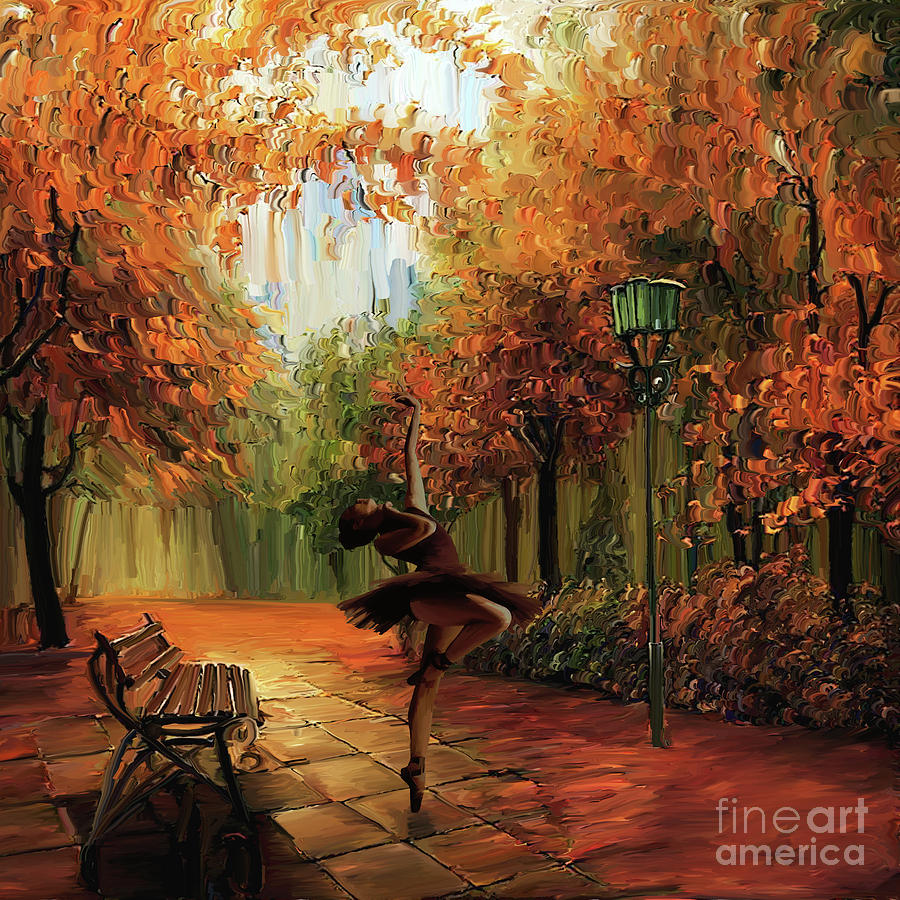 Ballerina Painting - Ballerina In The Park  by Gull G