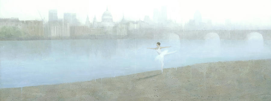Ballerina Painting - Ballerina On The Thames by Steve Mitchell