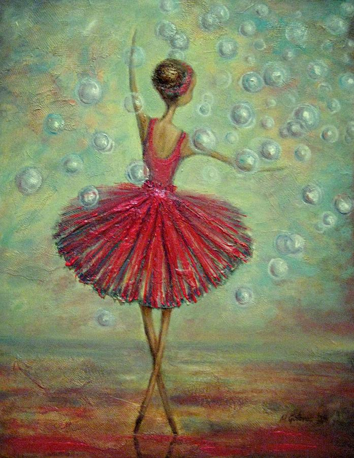 Ballerina Painting - Ballerina With Bubbles by Mirjana Gotovac