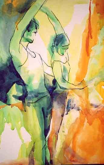Ballet Couple Painting by Lee Rose