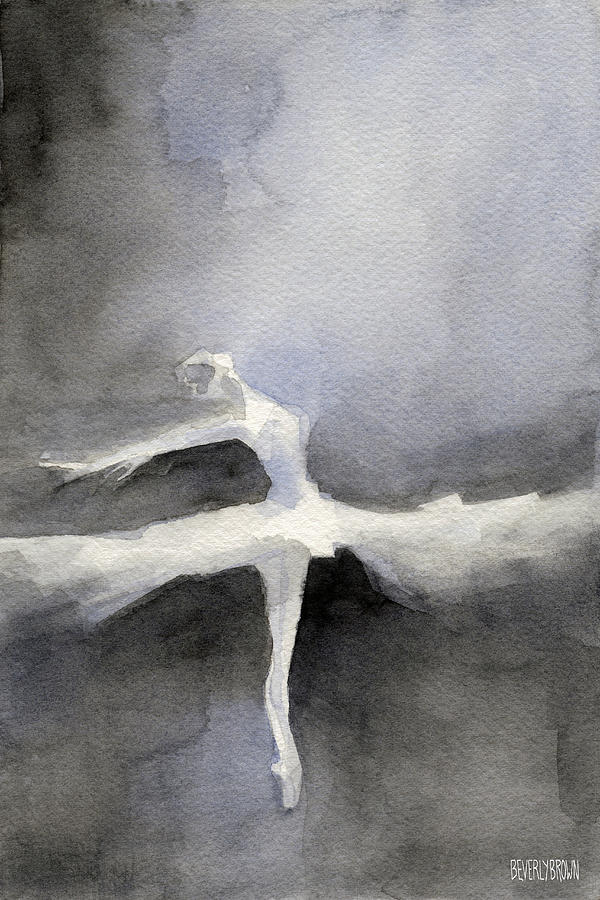 Ballet Painting - Ballet Dancer In White Tutu Watercolor Paintings Of Dance by Beverly Brown