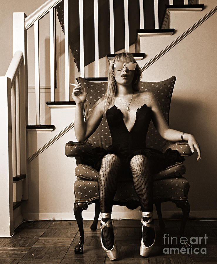 Ballet Dancer Sitting On A Chair Smoking Photograph by Kypros Kypros