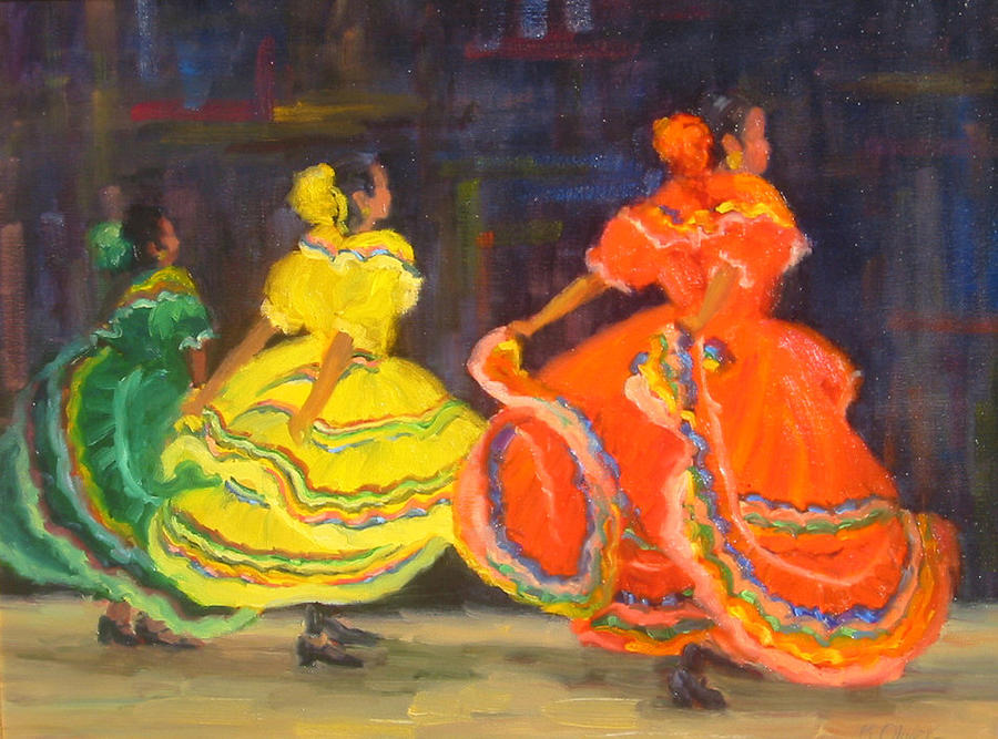 Figure Painting - Ballet Folklorico by Bunny Oliver
