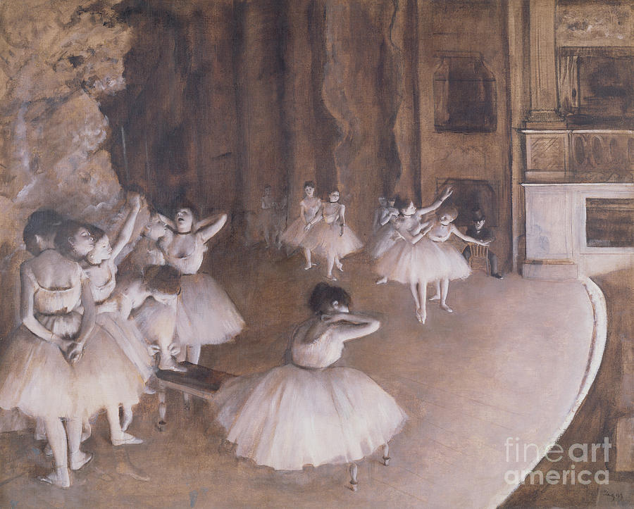 Ballet Painting - Ballet Rehearsal On The Stage by Edgar Degas