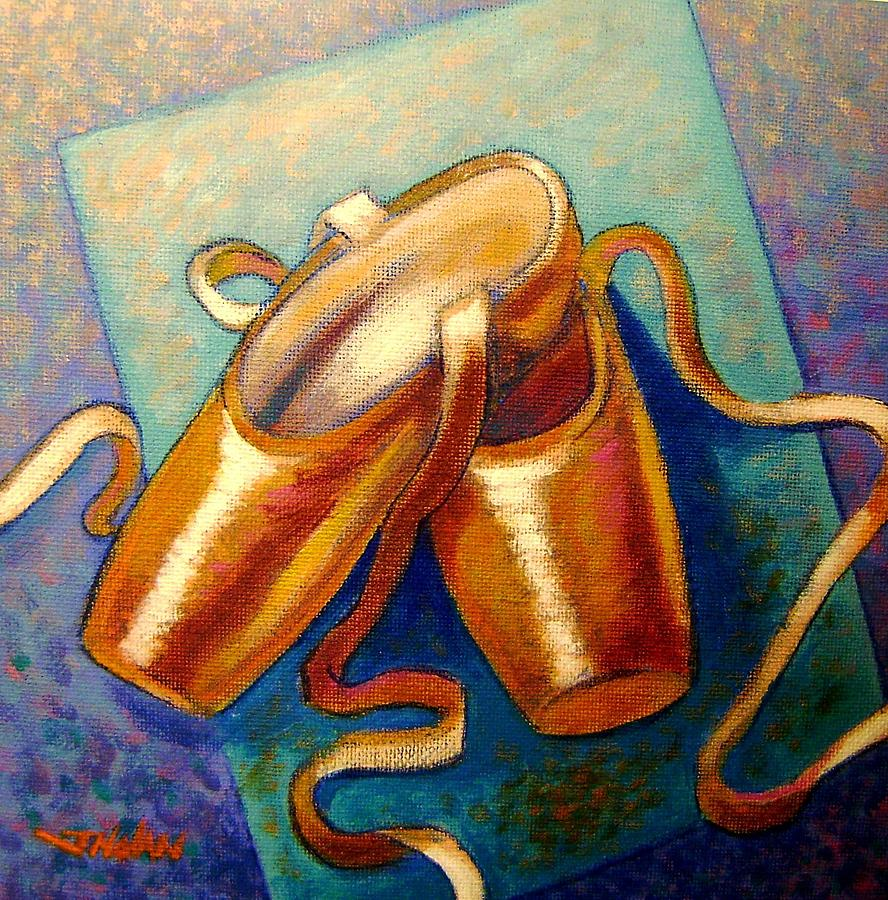 Ballet Shoes Leather Irish Cards Giclee Original Print Dance Dancers Satin Silk Ribbon Violet Blue Modern Colorful Impressionistic  Tchaikovsky Classical Music Orchestra Canvas Acrylic Figurative Feet Slippers Boots Footwear Painting - Ballet Shoes by John  Nolan