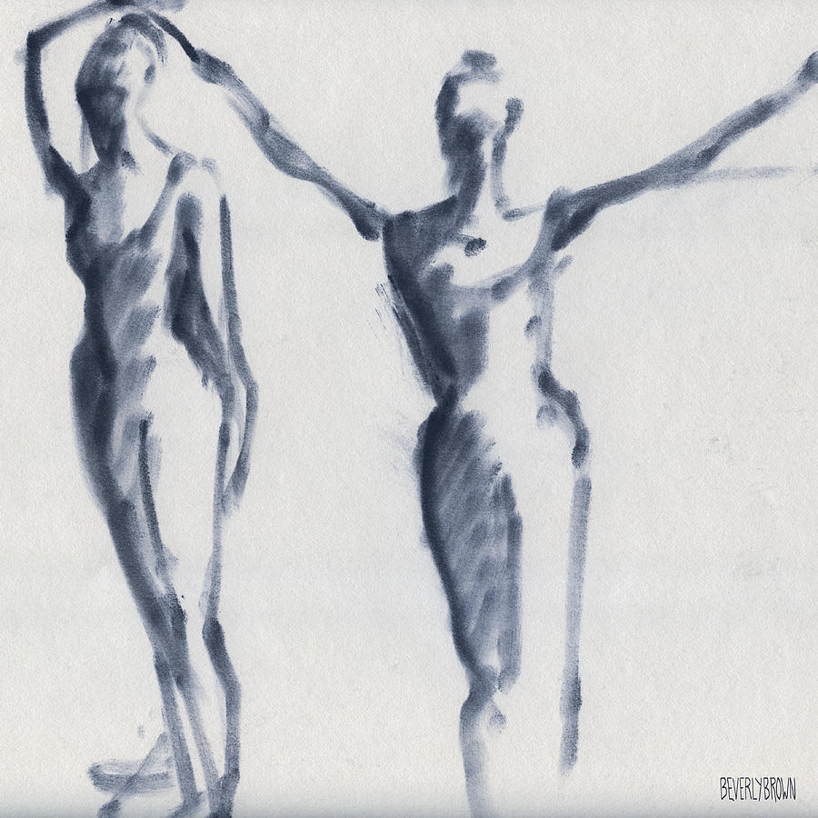 Ballet Drawing - Ballet Sketch Two Dancers Arms Overhead by Beverly Brown