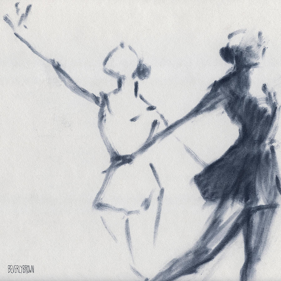 Ballet Drawing - Ballet Sketch Two Dancers Mirror Image by Beverly Brown