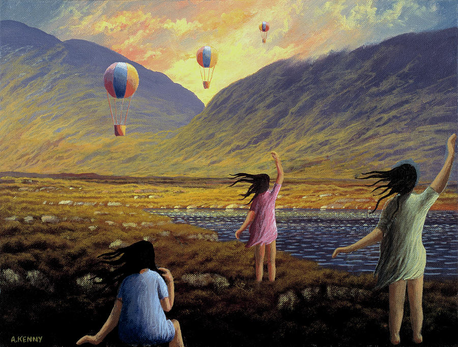 Landscape Painting - Balloon Children by Alan Kenny