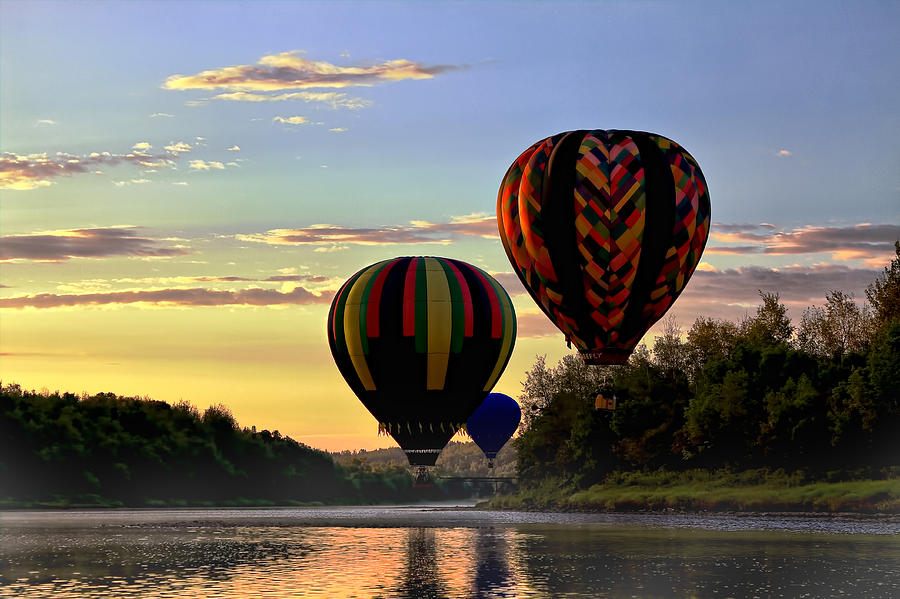 Hot Air Balloon Photograph - Balloon River Flight by Gary Smith