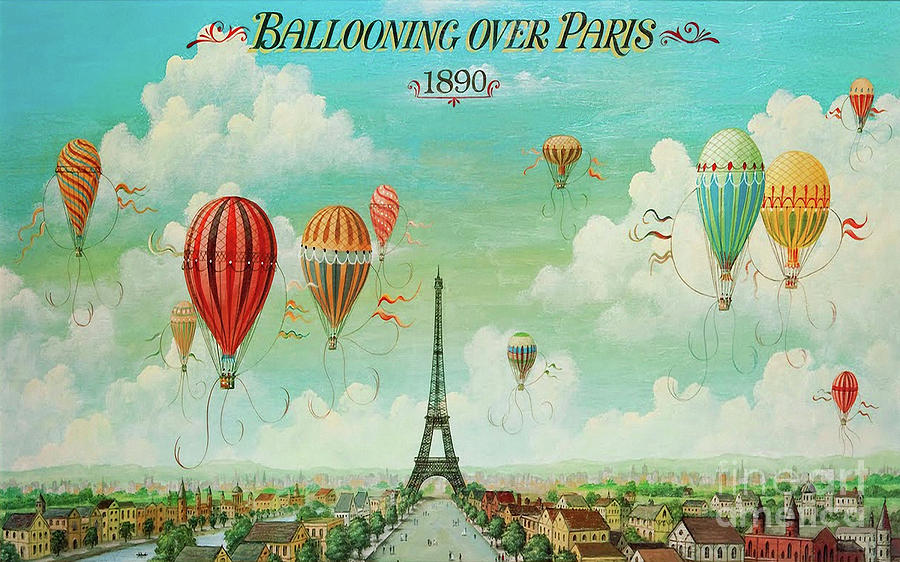 Ballooning Over Paris, Hot Air Balloon Eiffel Tower Painting by Tina ...