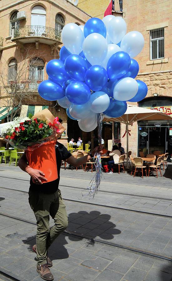 Balloons and Flowers on Jaffa Street - 3 by Alex Vishnevsky