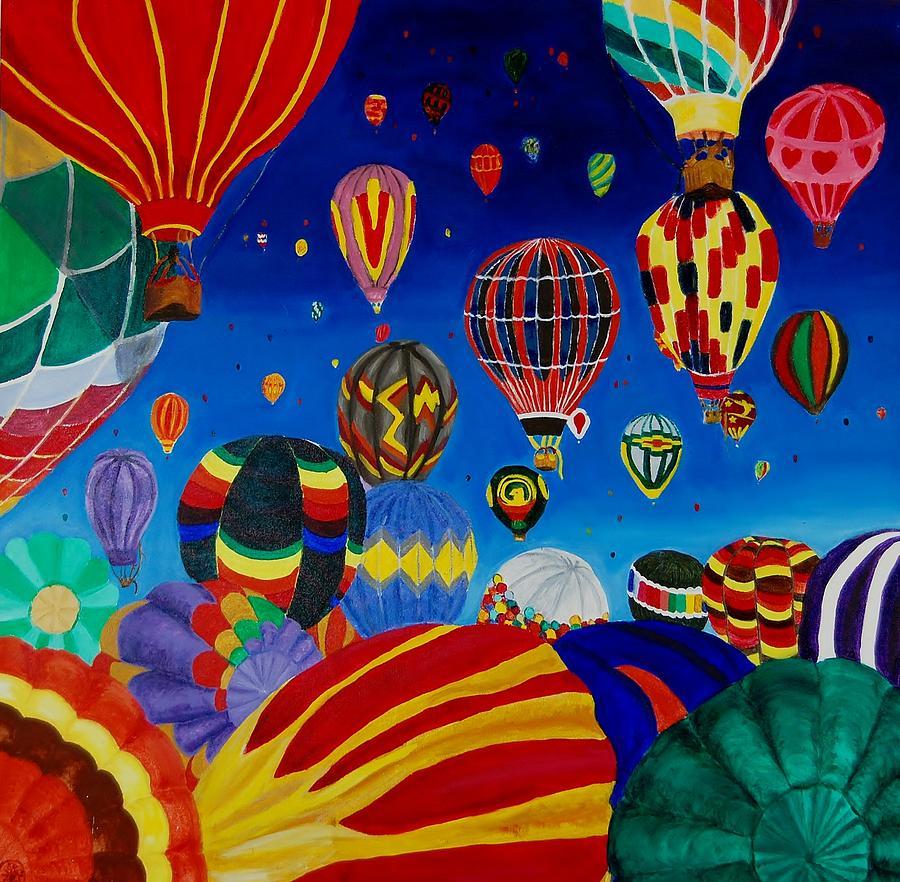 Hot Air Balloons Painting - Balloons by Charla Van Vlack