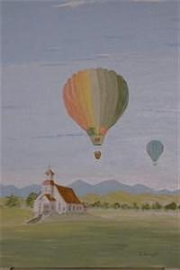 Or. Painting - Balloons Over Haines Church by Dora Gourley