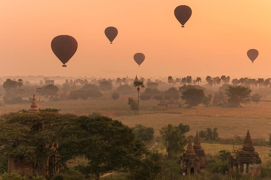 Mist Photograph - Balloons Sky by Marji Lang