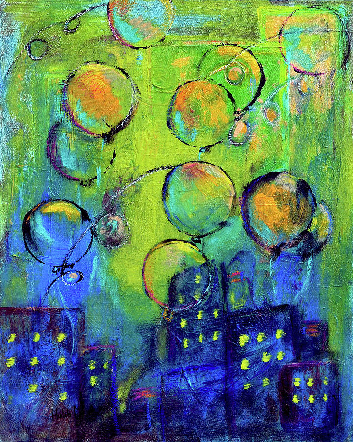 Cheerful Balloons Over City Painting by Haleh Mahbod