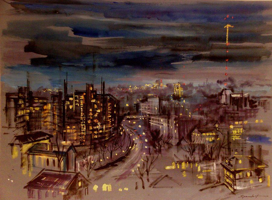Baltimore At Night Painting