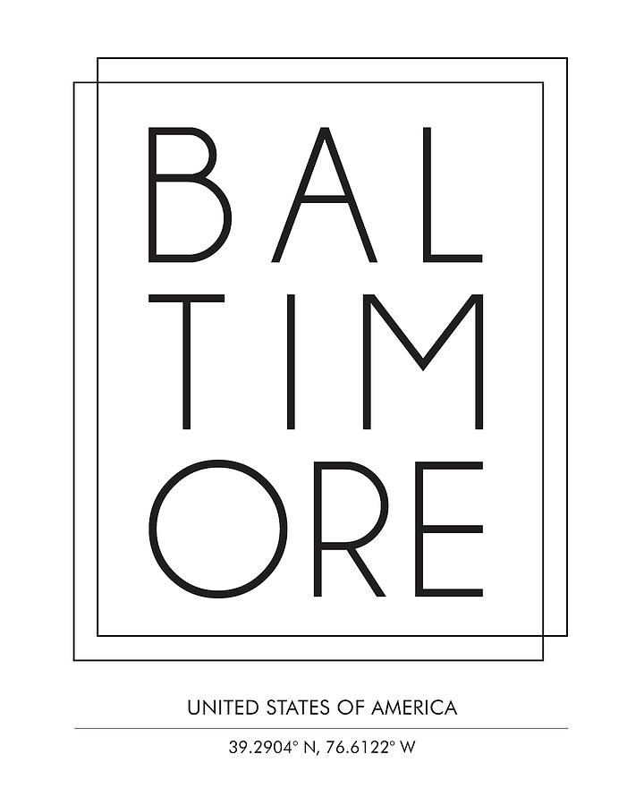 Baltimore, United States Of America - City Name Typography - Minimalist City Posters Mixed Media