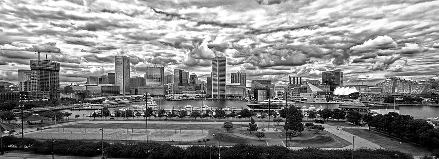 Baltimore Inner Harbor Photograph - Baltimore Inner Harbor Dramatic Clouds Panorama In Black And White by Bill Swartwout Fine Art Photography