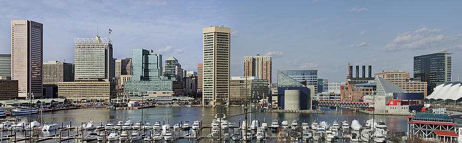 Baltimore Photograph - Baltimore Inner Harbor Panorama - Maryland by Brendan Reals