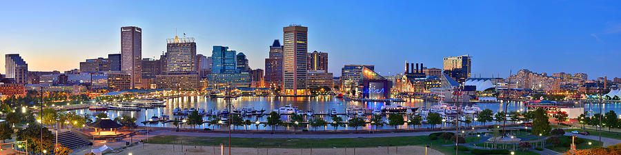 Architecture Photograph - Baltimore Skyline Inner Harbor Panorama At Dusk by Jon Holiday