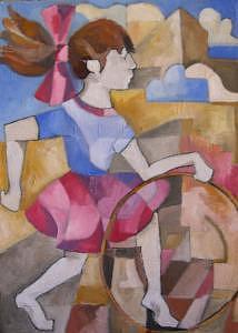 Bambina Che Gioca Con Il Cerchio In Piazza Painting by Alexander Luigi Di Meglio