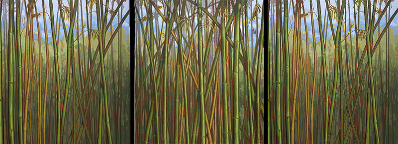 Landscape Painting - Bamboo - Triptych by Joseph Jackino