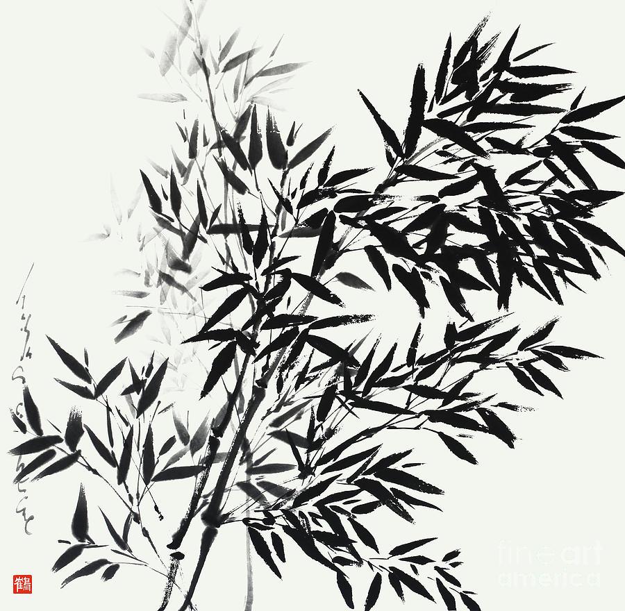 Bamboo Painting - Bamboo Bending  by Nadja Van Ghelue