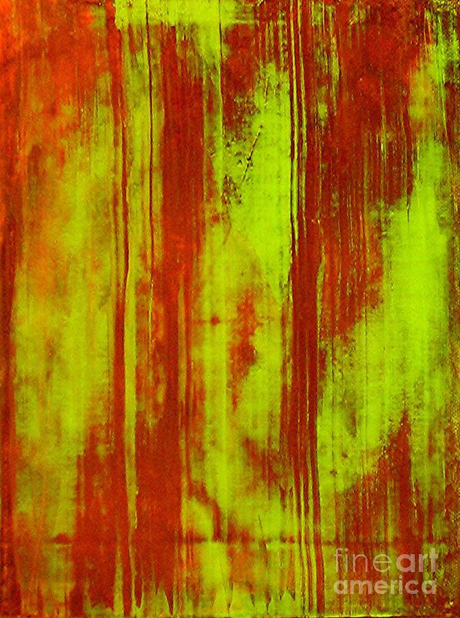 Yellow Abstract Painting - Bamboo Spy  1 by Teo Santa
