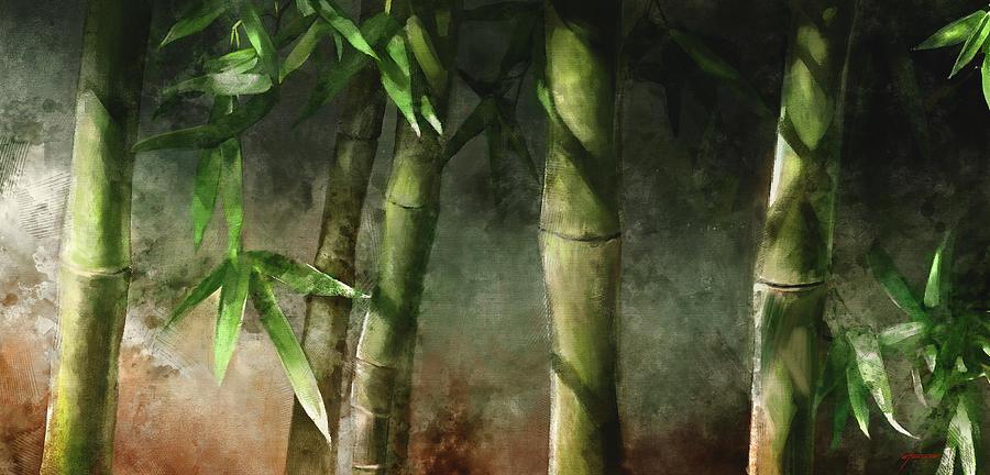 Bamboo Painting Mixed Media - Bamboo Stalks by Steve Goad