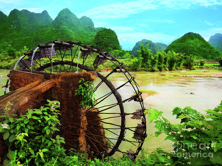 Tropical Photograph - Bamboo Water Wheel by MotHaiBaPhoto Prints