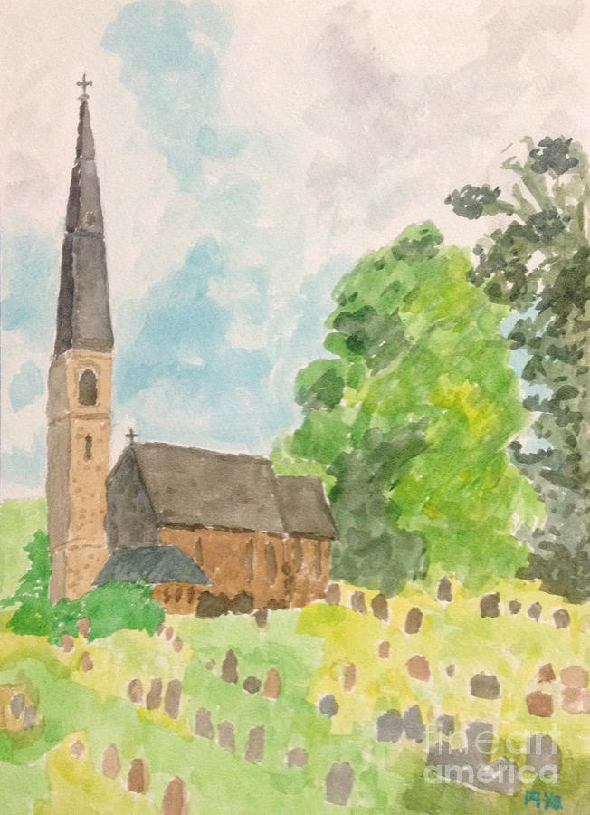 Bamford Church And Serenity Of Nature Painting by Sawako Utsumi