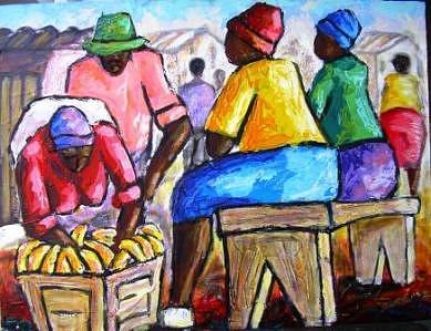 Banana Bizinisi Painting by Nicky Chovuchovu