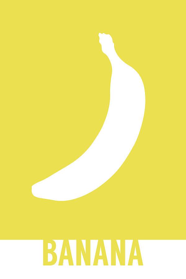 banana food art minimalist fruit poster series 001 mixed media by
